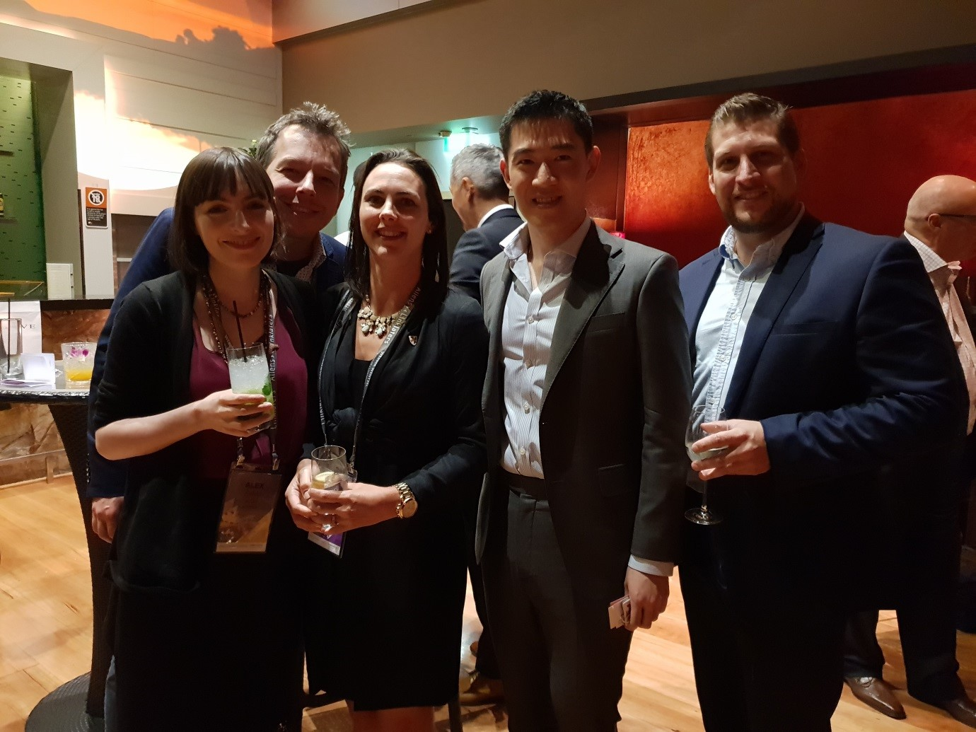 Camilla Godman (Centre) and attendees at the Joint Young Arbitration Drinks