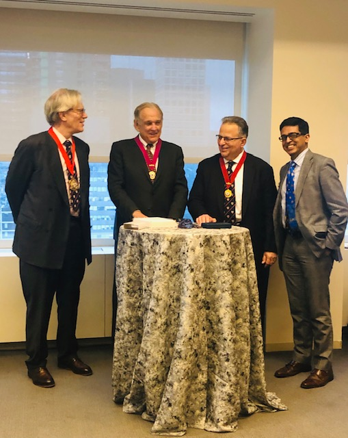 CIArb President Thomas Halket presents the New York Branch Patron Medal to Professor George Bermann with NY Branch Chair Richard Mattiaccio and fellow course director Kabir Duggal